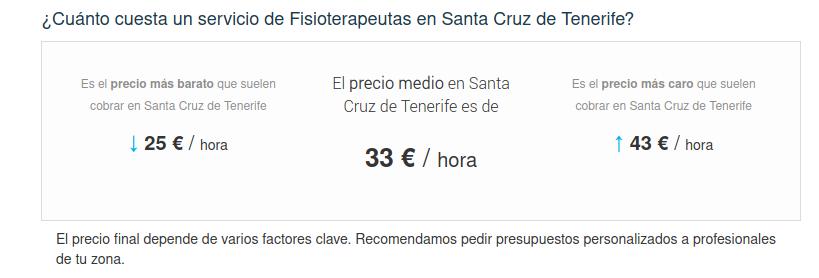 Precio de Los 10 Mejores Fisioterapeutas en Santa Cruz de Tenerife Precios